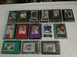 14 Baseball Greats, cards mounted in cases on plaques