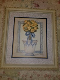 Home interior Yellow & blue Framed flower wall art print