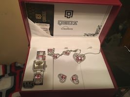 Silver and pink gemstone watch necklace and earrings with box