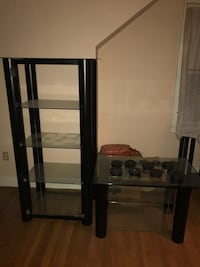 Black metal and glass tv stand with entertainment center
