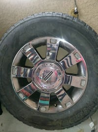 chrome 5-spoke car wheel with tire North Las Vegas, 89084