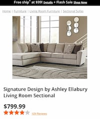 Ashley Ellabury Sectional Couch Baltimore, 21213