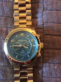 round gold Michael Kors chronograph watch with link bracelet Edmonton