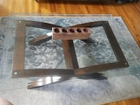 REDUCED - Glass and cherry wood coffee table Saint Petersburg