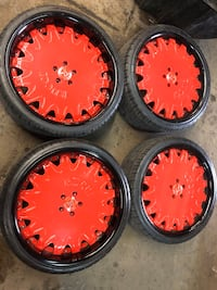 """22"""" RED RUCCI FORGED WHEELS AND TIRES!!! SET!! OPEN SUNDAY 2000$ OBO"""