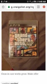 Grand Theft Auto Five PS3 game case Redding