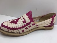 unpaired pink and white stripe wedge sandal South Gate, 90280