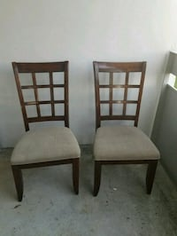 two brown wooden framed gray padded chairs Waterloo, N2J 3B8