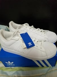 white Adidas Superstar shoes with box NEW