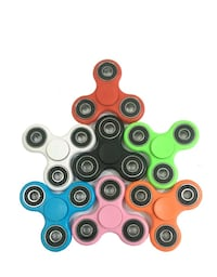 seven colored fidget spinners