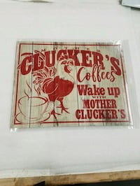 Funny chicken coffee cluckers metal sign