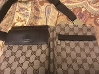 Two brown gucci monogrammed crossbody bag