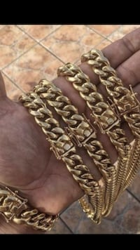 Miami Cuban Link Chain Necklace and Bracelet Set New York