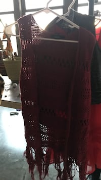 maroon knitted vest