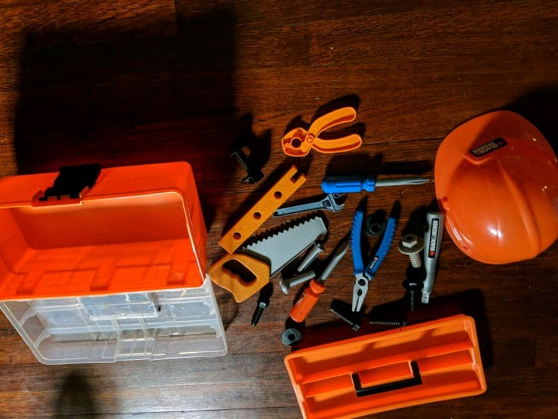 Pretend Play Tools Hard Hat Black and Decker Saw Screws Drill Wrench bc581380-5693-4fd7-942c-849d7447af8f