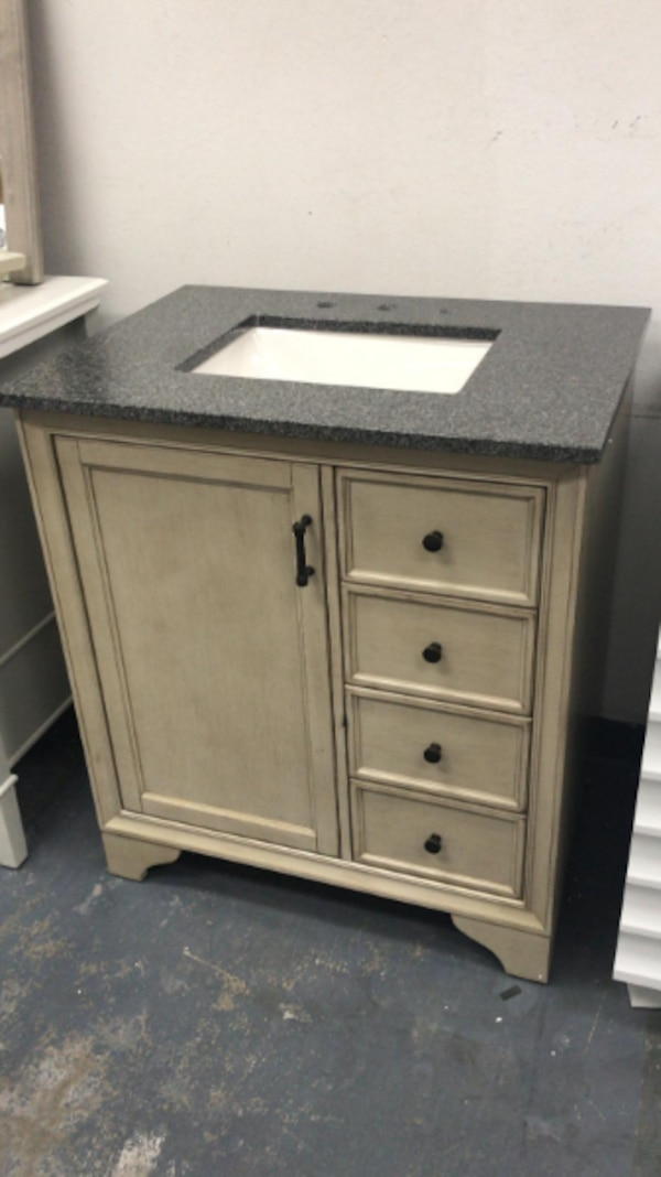 Home Decorators Collection Hazelton 31 In W X 22 In D Bath Vanity In Antique Grey With Granite Vanity Top In Dark Grey