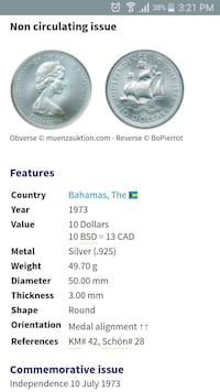 Bahamas independence day $10 dollar silver coin