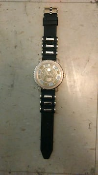 round silver-colored chronograph watch with black leather strap Cincinnati, 45229