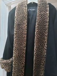 Leopard faux fur accented wool Coat East Providence, 02914