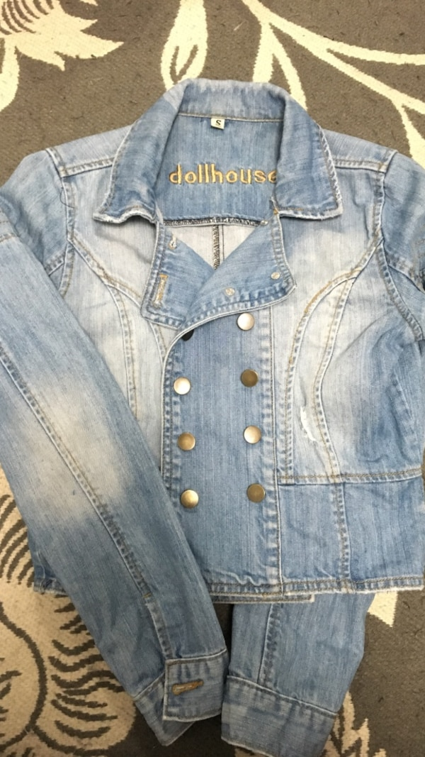 faded blue double-breasted Dollhouse denim jacket