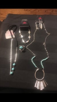 several silver-colored jewelries