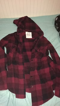 Red and black flannel hoodie Calgary