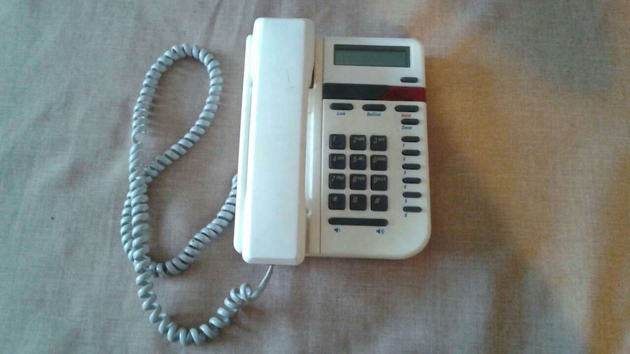 white digital telephone