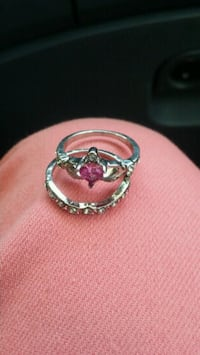 silver and pink gemstone ring 1299 mi