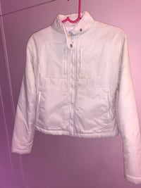 Kids PURE white light Down filling jacket size 10 racer style girl