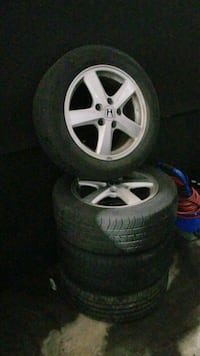 gray 5-spoke car wheel with tire set Toronto, M3J 2R1