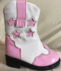 children's white-and-pink leather cowboy boots