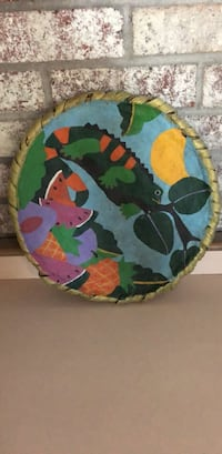 Green, red, and blue tropical wooden animal print plate Lemont, 60439