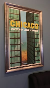Large Print in Custom Frame - United Airlines Ad Chicago, 60642