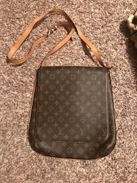 Black and brown monogrammed louis vuitton leather crossbody bag Lennox, 57039
