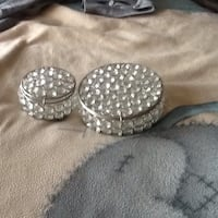 Two round silver-colored jewelry boxs ,I large I small ,idea for jewelry or cotton wool or bits and bobs  Welling, DA16 2DA