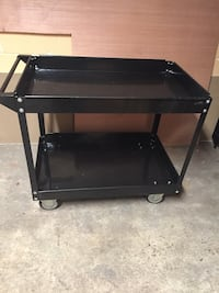 black wooden 3-layer TV stand