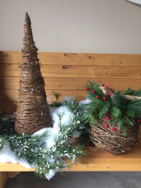 Christmas Items. Four large containers of new Christmas decorations, ornaments, outdoor and indoor