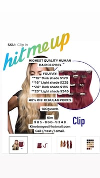 CLIP-IN HUMAN REMY HAIR EXTENSIONS  Toronto, M6H 2H8
