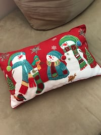 red and white Snowman throw pillow
