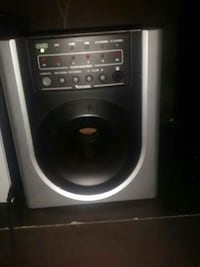 gray and black Venture compact subwoofer