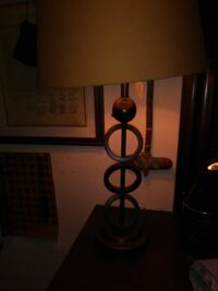 black metal base table lamp with brown lampshade Trinity, 27370