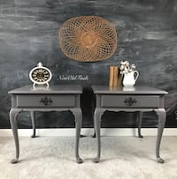 Pair of grey sidetables/nightstands