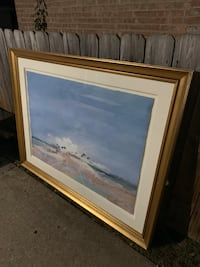 brown wooden framed painting of river Morton Grove, 60053