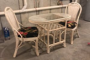 Wicker table and two chairs