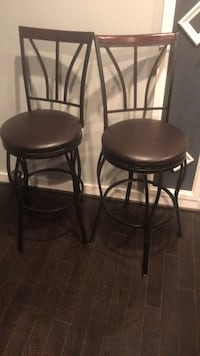 two black leather padded bar stools Washington, 20019