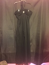black and gray spaghetti strap dress Anderson