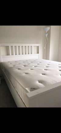 SULTAN HOLMSTA QUALITY QUEEN MATTRESS + WHITE WOODEN BED FRAME + BED BASE Washington, 20008