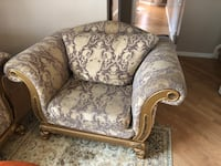 brown and white floral fabric sofa chair Toronto, M9W 7E4