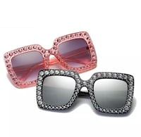 Pink and black wayfarer sunglasses with gemstone embellished