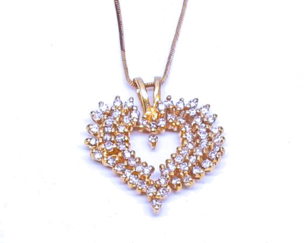2CT Diamond/Gold Heart Necklace